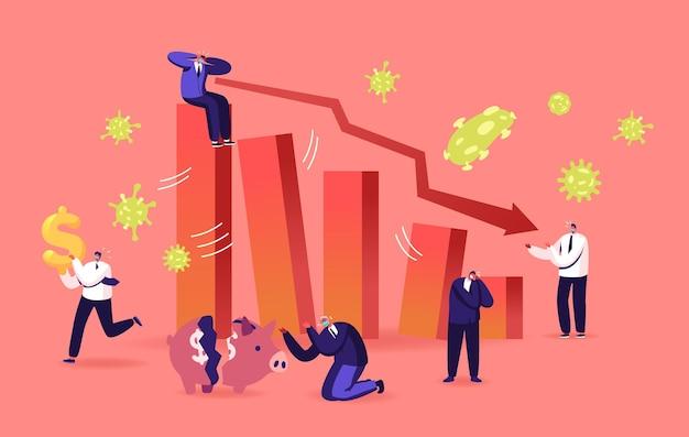 Negatywny wpływ covid19 na cenę inwestycji. epidemia koronawirusa i globalny kryzys gospodarczy, krach finansowy. wykres giełdowy spadek i zdenerwowany ludzi biznesu znaków. ilustracja kreskówka wektor