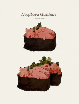 Negitoro gunkan, mielone sushi z tuńczyka. ręcznie rysować wektor szkic. japońskie jedzenie
