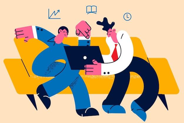 Negocjacje biznesowe koncepcja burzy mózgów i dyskusji. dwóch młodych biznesmenów partnerów współpracowników siedzi z laptopem na autokarze omawiając projekt razem ilustracji wektorowych