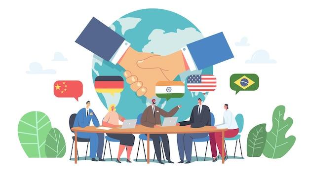 Negocjacje międzynarodowe, dyplomacja, spotkanie polityczne przy koncepcji okrągłego stołu. delegaci rozwiązujący problemy światowe, dyskutujący rzecznicy, uścisk dłoni na konferencji prasowej. ilustracja kreskówka płaskie wektor