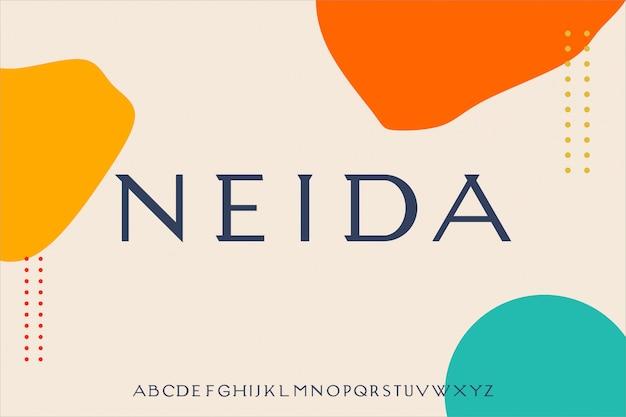 Neida luksusowy i elegancki alfabet czcionki