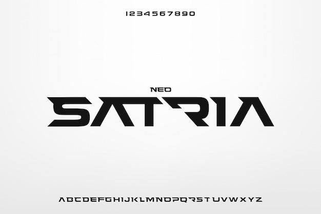 Neo satria, abstrakcyjna futurystyczna czcionka alfabetu z motywem technologicznym. nowoczesny minimalistyczny projekt typografii