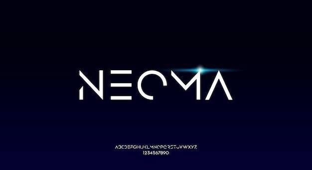 Neoma, cienka, ostra, geometryczna, futurystyczna czcionka alfabetu z motywem technologicznym. nowoczesny minimalistyczny projekt typografii