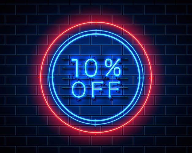 Neon 10 off baner tekstowy. znak nocy. ilustracja wektorowa