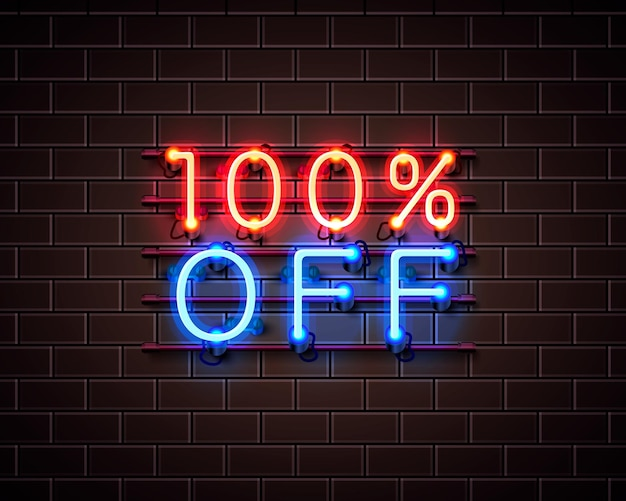 Neon 100 off baner tekstowy. znak nocy. ilustracja wektorowa