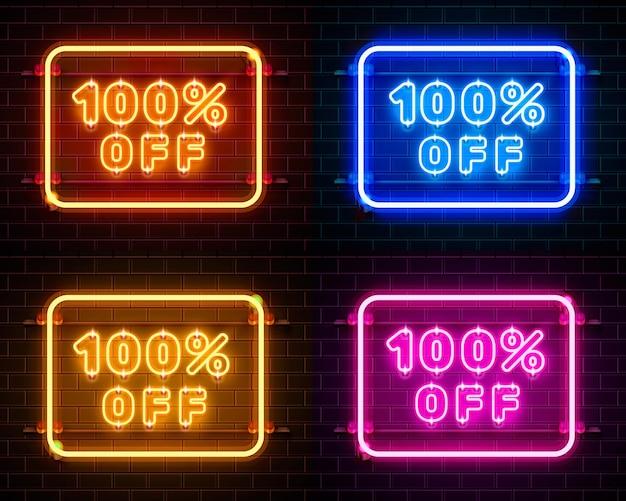 Neon 100 off zestaw kolorów banerów tekstowych. znak nocy. ilustracja wektorowa