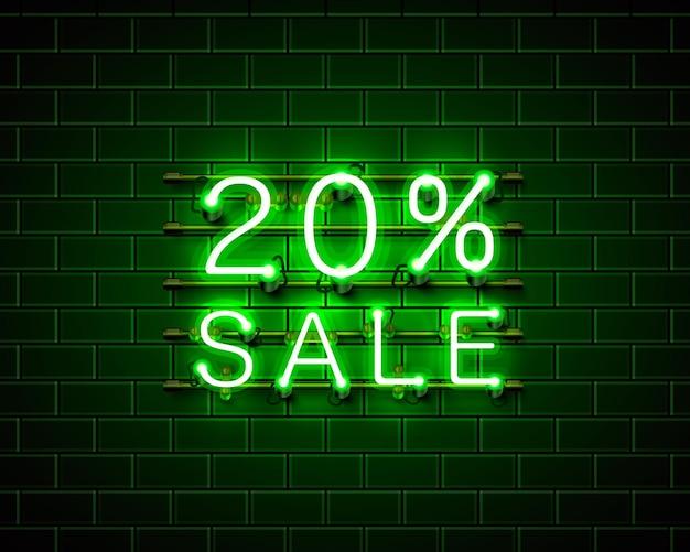Neon 20 sprzedaż baner tekstowy. znak nocy. ilustracja wektorowa