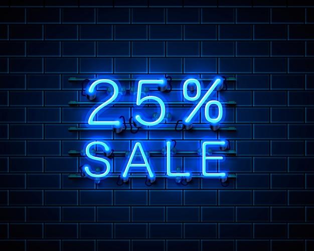 Neon 25 sprzedaż baner tekstowy. znak nocy. ilustracja wektorowa