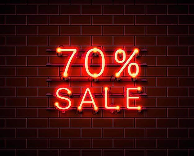 Neon 70 sprzedaż baner tekstowy. znak nocy. ilustracja wektorowa