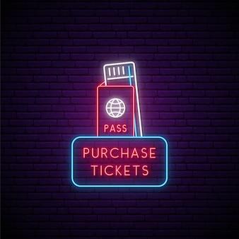 Neon bilety znak na białym tle na czarnej ścianie