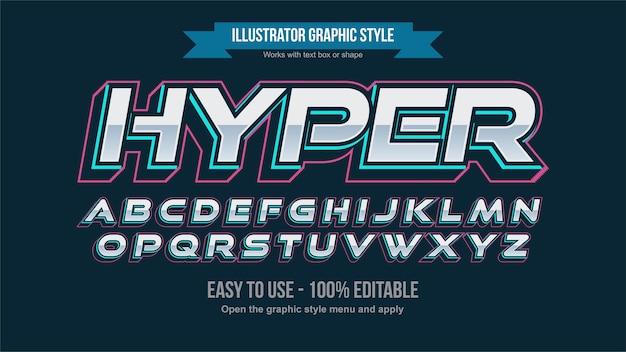Neon blue futuristic chrome italic sports edytowalny efekt tekstowy