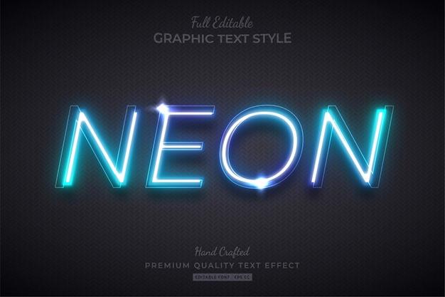Neon blue glow edytowalny styl czcionki efektu tekstowego
