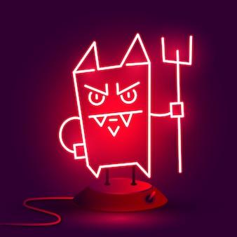Neon cartoon devil