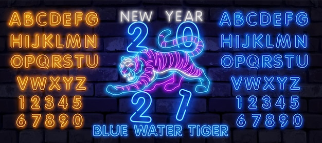 Neon chiński nowy rok 2022 rok tygrysa, charakter linii, styl neon na czarnym tle. szczęśliwego chińskiego nowego roku 2022, roku tygrysa