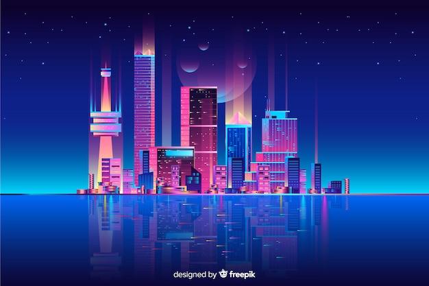 Neon cityscape tło