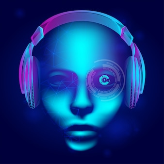 Neon cyber dj lub głowa robota z konturową ramką elektronicznych słuchawek. ilustracja sztucznej inteligencji z abstrakcyjną ludzką twarzą w technologii stylu sztuki linii na ciemnym niebieskim tle