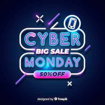 Neon cyber poniedziałek duża wyprzedaż
