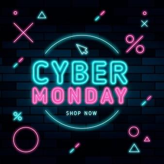 Neon cyber poniedziałek ilustracja z tekstem