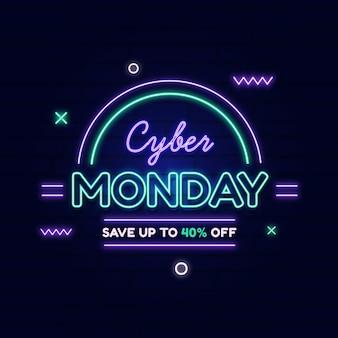 Neon cyber poniedziałek sprzedaż banner