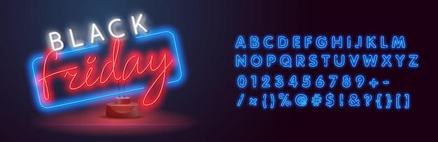 Neon czarny piątek. baner internetowy, logo, godło i etykieta. neon, jasny szyld, jasny baner. motyw czarny piątek. zniżka. wielka wyprzedaż. logo, etykieta i emblemat cyber monday.