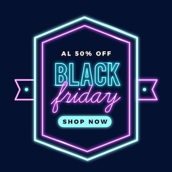 Neon czarny piątek promocyjny baner