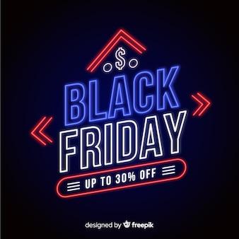 Neon czarny piątek sprzedaż transparent