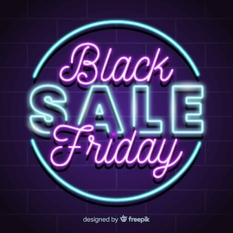 Neon czarny piątek super sprzedaż transparent