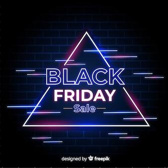 Neon czarny sztandar promocyjny piątek