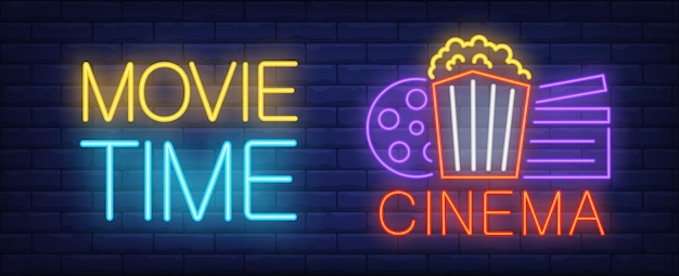 Neon czasu filmu. wiadro popcorn, clapperboard i rolka filmu na plakacie.