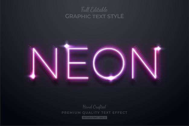 Neon edytowalny efekt stylu tekstu premium
