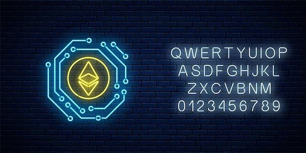 Neon ethereum znak waluty z obwodem elektronicznym. godło kryptowaluty z alfabetem na tle ciemnego ceglanego muru. ilustracja wektorowa.
