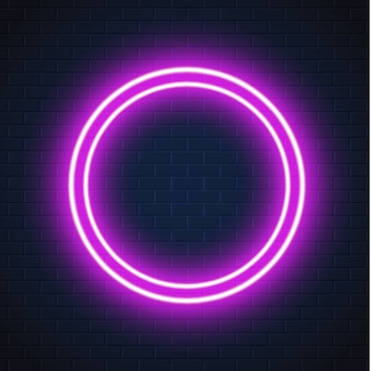 Neon fioletowy koło rama znak ściana z cegieł