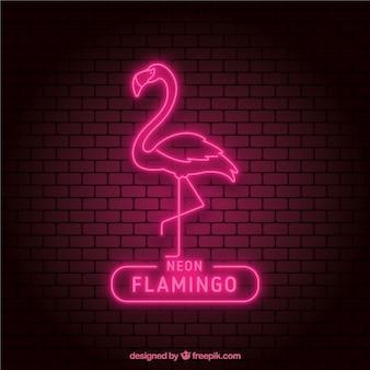 Neon flamingo z różowym światłem