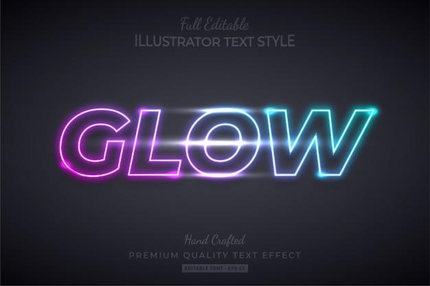 Neon glow edytowalny efekt 3d w stylu tekstu premium