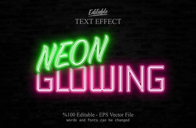 Neon glowing edytowalny efekt tekstowy