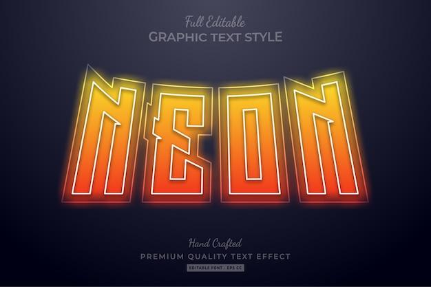 Neon gradient pomarańczowy edytowalny styl czcionki efektu tekstowego