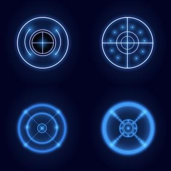 Neon hud futurystyczny element na białym tle na ciemnym tle. zaawansowany interfejs użytkownika. streszczenie wirtualny cel. ilustracja.