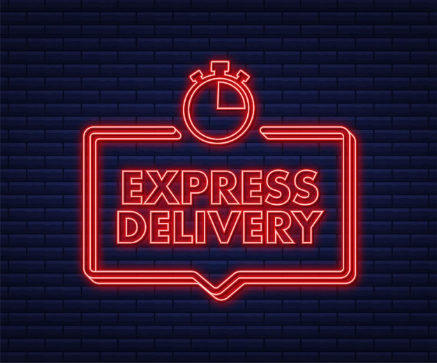 Neon ikona usługi ekspresowej dostawy szybkie zamówienie dostawy ze stoperem
