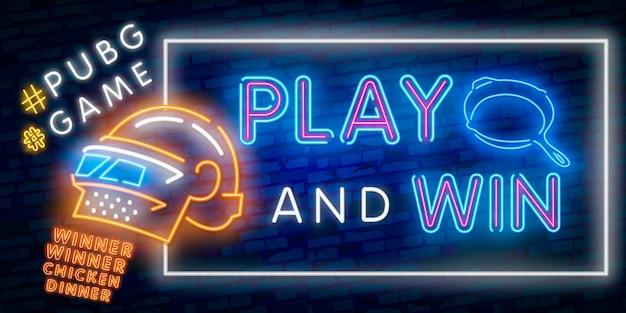 Neon ilustracji wektorowych logo i tekst zwycięzca zwycięzca kurczaka obiad. wygrywając tekst publikacji