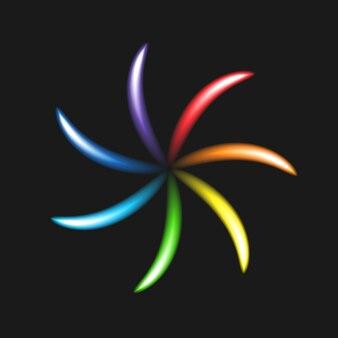 Neon jasny kwiat na czarnym tle. spektrum, gama, tęcza. świecący znak elektryczny. element projektu w koncepcji optyki. ilustracja wektorowa.