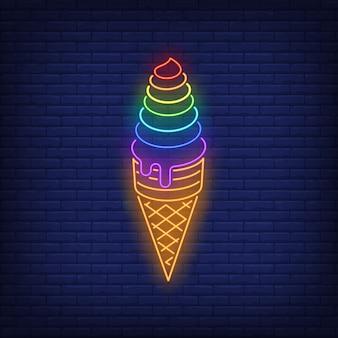 Neon kolorowy znak tęczy lodów