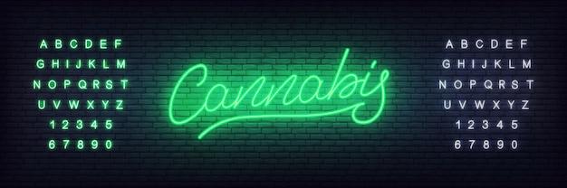 Neon konopny. świecące napis konopie indyjskie na konopie, sklep z marihuaną lub firmy