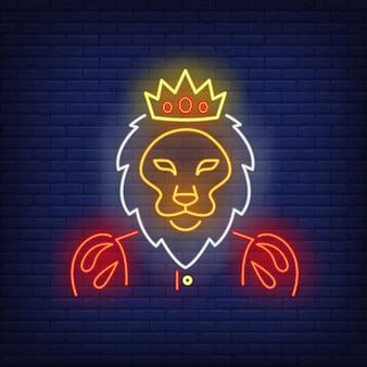 Neon król lew znak