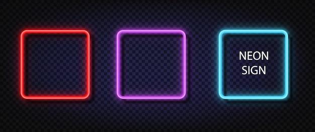 Neon kwadratowy znak. świecący kolor wektor zestaw realistyczny neonowy kwadrat. błyszczące lampy led lub halogenowe ramowe banery