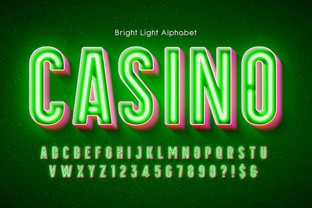 Neon light 3d alfabet, dodatkowo świecący nowoczesny typ.