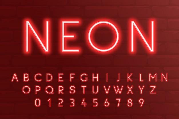 Neon light 3d alfabet, litery i cyfry 3d w czerwonych kolorach