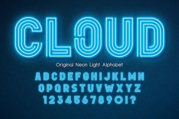 Neon light 3d alfabet złożony szablon