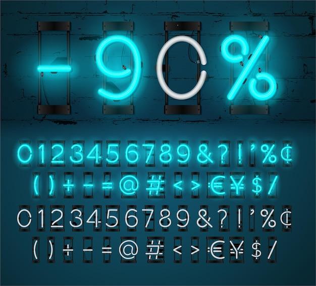 Neon light alfabet czcionki. świecący efekt tekstu. lampka wł. i wył.