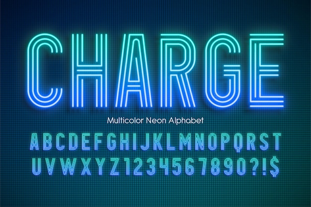 Neon light multicolor alfabet świecący szablon moderntypeset