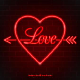 Neon na białym tle serca